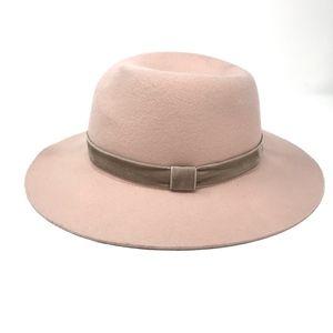 Rag & Bone Zoe Wool Fedora Hat Pink Taupe Medium